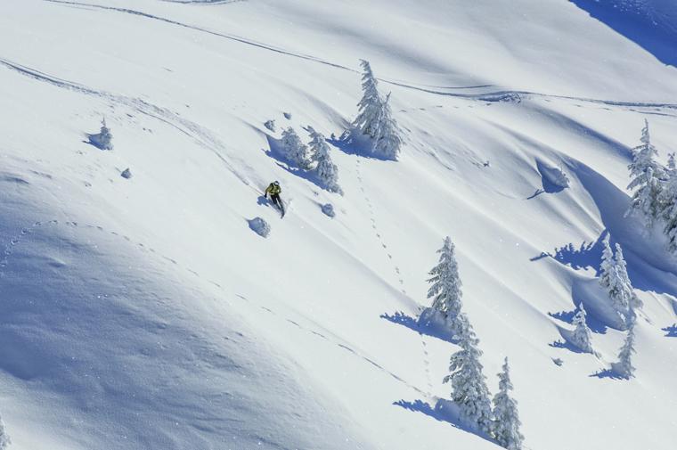 Telemarker in tief verschneiter Natur