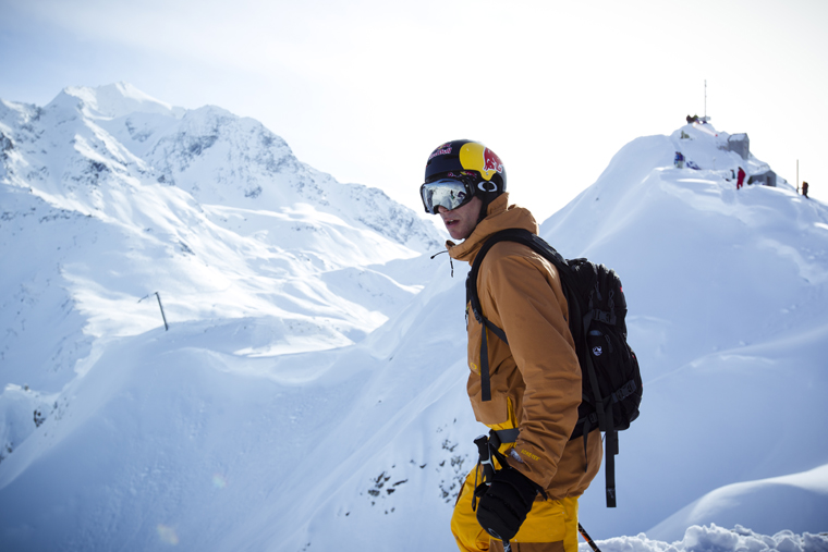Richard Permin surveys his line before the Red Bull Line Catcher in Les Arcs, 2013 | Elina Sirparanta/Red Bull Content Pool