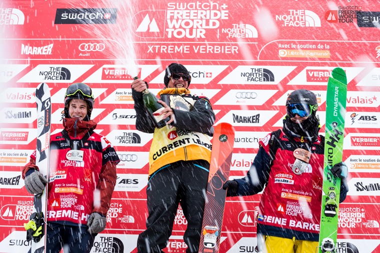 George celebrates his first Freeride World Tour title |Freeerideworldtour.com / Jermey Bernard