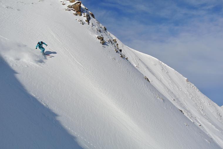 Matteo descends the north face of Mont Jovet