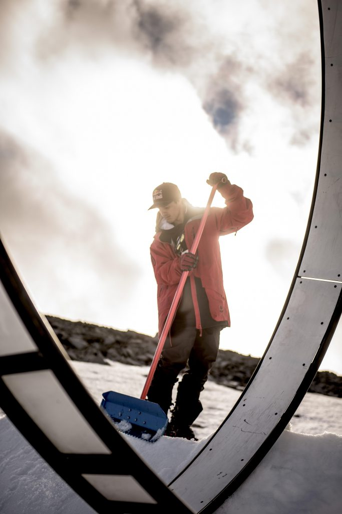 Jesper Tjader - Prepares during shooting with Field Productions at the loop feature at Juvass, Norway