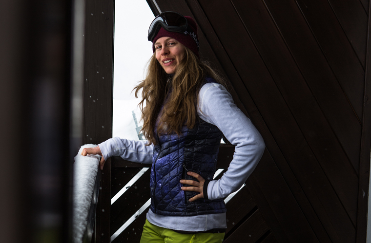 Fall-Line skier Chloe gives her layers the balcony test... | Callum Jelley