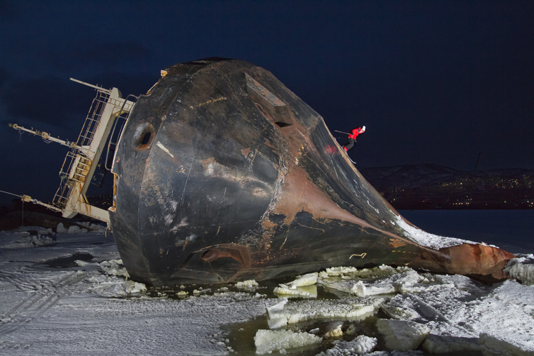 Guerlain Slides down the rusty shell of a stranded Vessel in Kamachatka