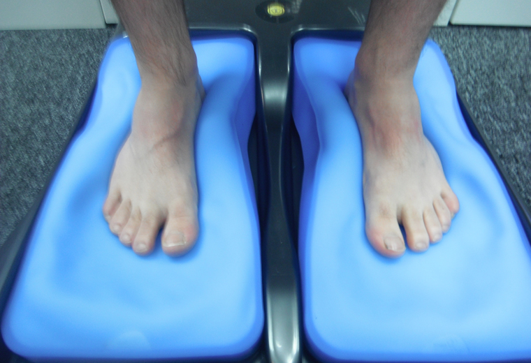 Silicone gel pads take imprints of your foot