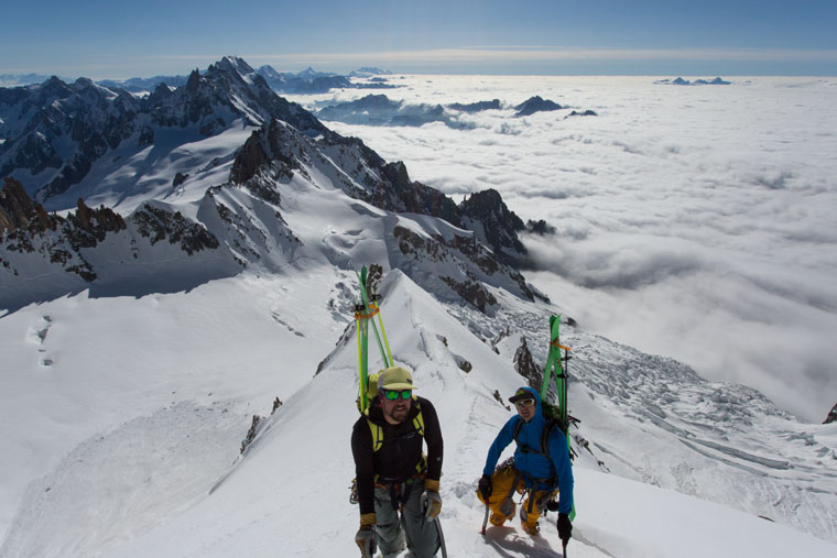 Up, up, up: Enrico Mosetti and Tom Grant during the climb to the Brenva spur.