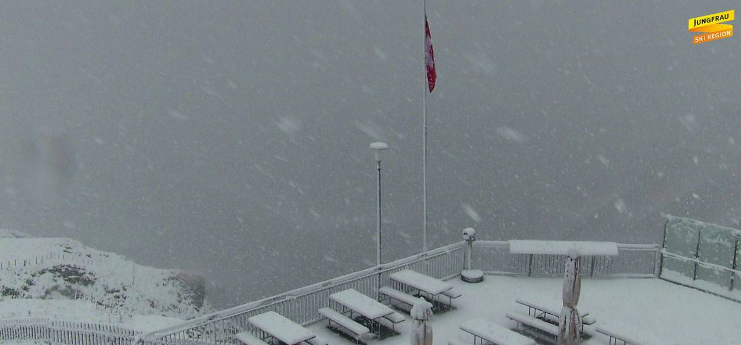 First autumn snowfall the Jungfrau in 2017
