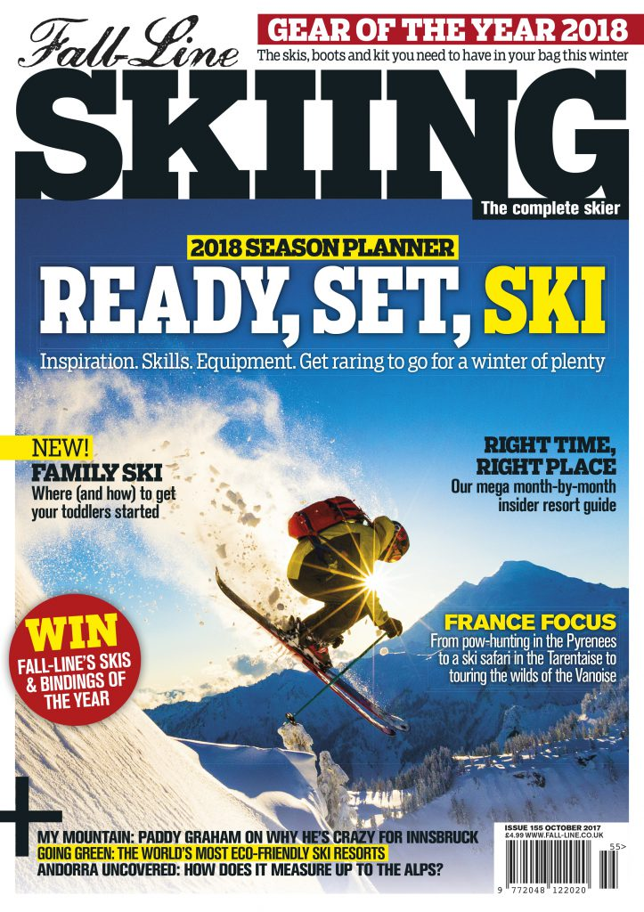 Front cover of the first issue of Fall-Line Skiing magazine in 2017/2018 season