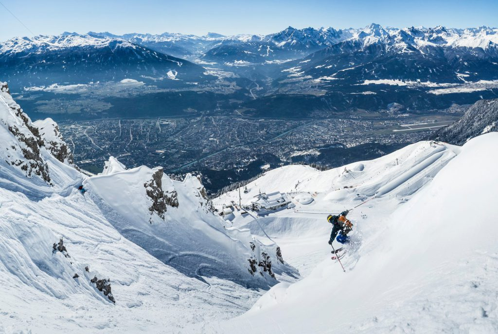 Skiing at Nordkette, above the Tirolean city of Innsbruck