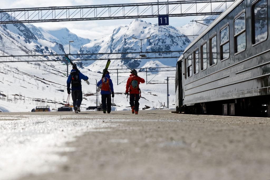 Taking the train to a skitouring adventure in Norway