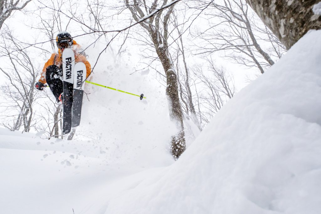 Sam Anthamatten skis his pro model ski, the Faction Prime 4.0, in Japan