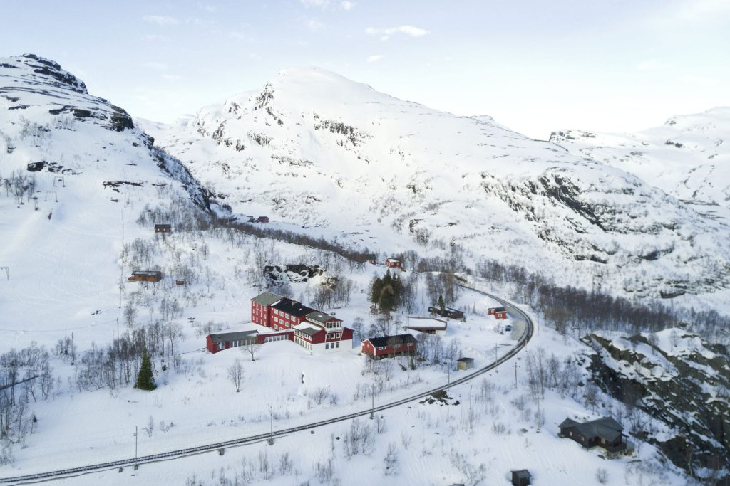 Train tracks run past Vatnahalsen Lodge in Norway