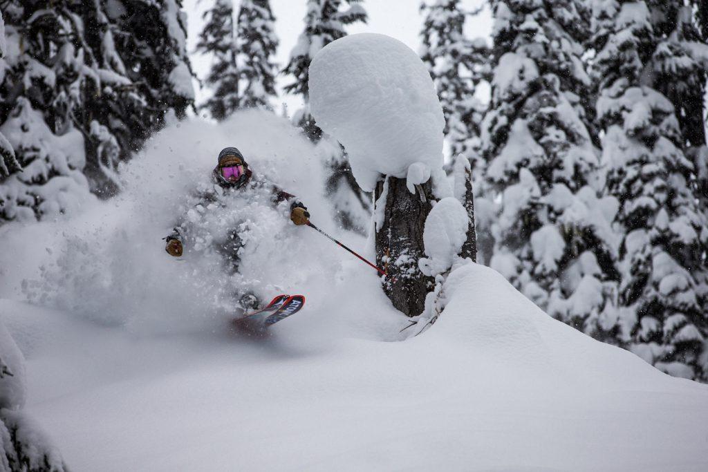 Shredding powder on the Atomic Backland FR 102 ski