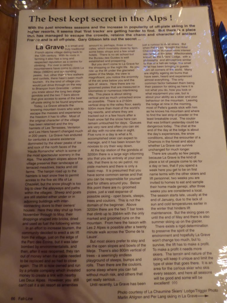 La Grave story in an old issue of Fall-Line Skiing magazine