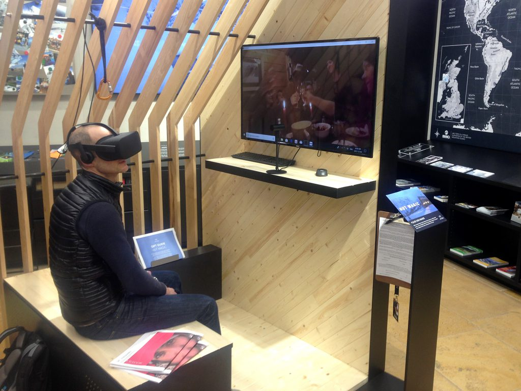 Jonny Richards tries Arc'teryx's Hut Magic VR ski experience in their Picadilly store, London