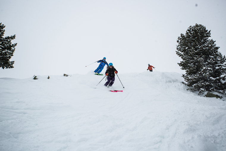 Richard (behind) and Mary skiing in Kühtai, near Innsbruck