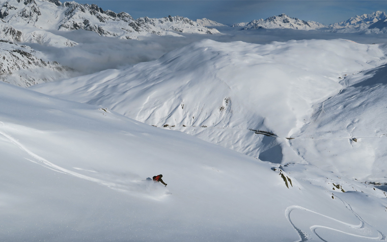 Endless untracked powder in Les Sybelles, France