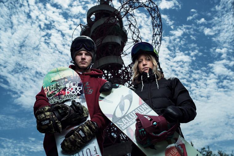 Snowboarders Jenny Jones and Jamie Nicholls get ready for Freeze