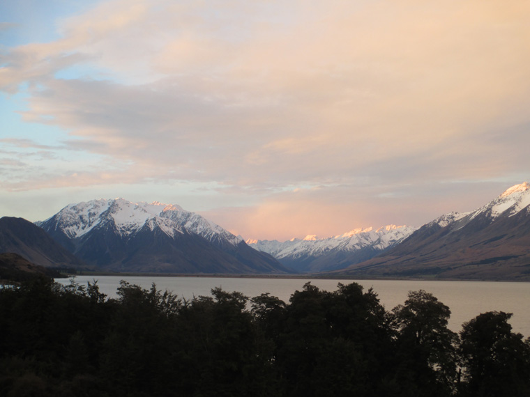 The view across Lake Ohau from the valley below