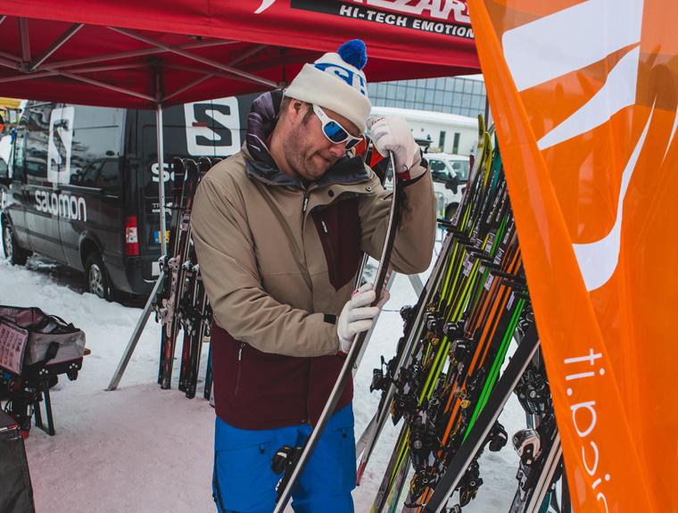 Richard examines next year's skis in Kühtai, near Innsbruck |Photo Callum Jelley