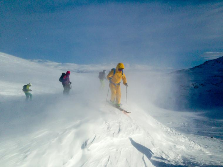 Ski sensei Klas leads the group