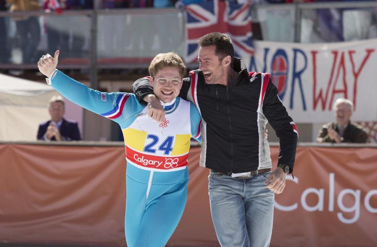 Taron Egerton and Hugh Jackman star in the film