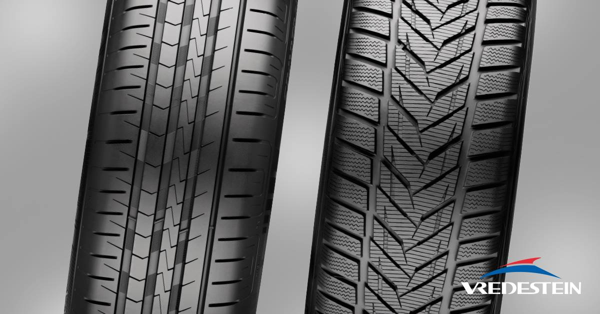 Vredestein summer tyres (left) vs winter tyres (right). Notice the sipes?