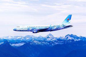 Powdair aeroplane in flight