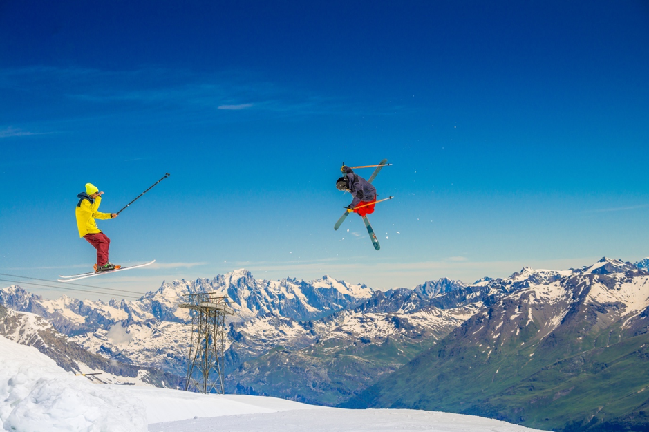 Summer skiing in snow parks